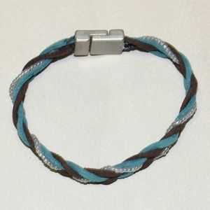 Handcrafted Brown and Blue Suede Bracelet